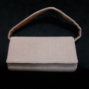 Vintage Small White Beaded Evening Purse